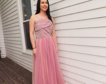 SHOP SALE 40s Pink Formal Gown Iridescent 1940s Party Prom Dress Vintage XS S