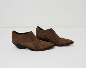Southwestern Brown Leather Cowgirl Booties Size 7 Vintage Shoes
