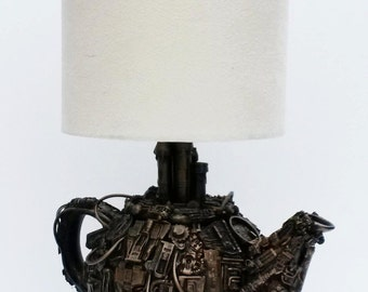 techno steampunk teapot lamp base