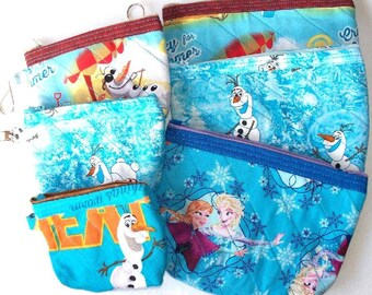 Disney Frozen Quilted Cosmetic Bag or Coin Purse,  Your Choice of Queen Elsa & Princess Anna,Winter Olaf Snowman or Crazy For Summer Olaf