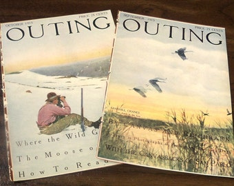 1915 Outing Magazine Covers (2) Sandhill Cranes Hunter on mountain top Antique sporting magazine Art Illustration Cover Art