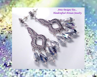 Silver Enchantment...Sterling Silver Filigree Chandelier Earrings with Silver Crystals