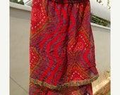 VALENTINES SALE Lightweight, Long, Layered Summer Indian Sari Silk Ladies Skirt - Anne 607