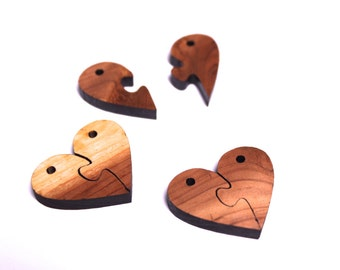 Cedar Wood Puzzle Heart Beads - Six Pieces Laser Cut from Sustainable Harvest Wisconsin Wood