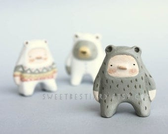 SALE Woodland bear boy miniature  - Paper clay figurine - Woodland art toy