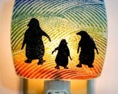 Penguin Family Night Light Made with Recycled Windows