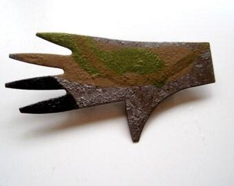 IVAN BARNETT BROOCH Folk Art Hand in Primitive Metal Hand Painted Silver Green Brown Hand Cut