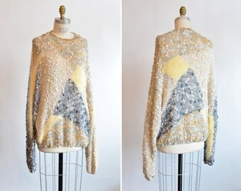 SALE / Vintage 1980s oversize VISCOSE knit sweater