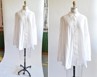 Vintage ANN DEMEULEMEESTER white cotton tunic dress