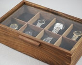 Watch Box with glass top - Holds 8 watches -  Walnut