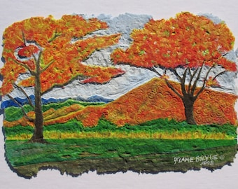 Fall Landscape painting, Autumn trees, Blue Ridge Mountains, Virginia landscape, Recycled paper print