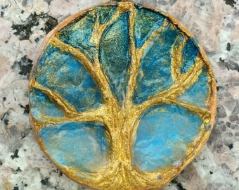 Tree of Life pendant, golden tree, Sculpted paper, recycled paper jewelry, paper mache jewelry, pagan jewelry, shamanic journey,Flame Bilyue