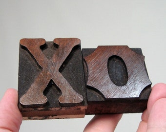 XO Wood Letters Letterpress Type Two Vintage X and O Print Blocks