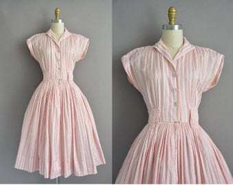 50s vintage pink soft cotton stripe print dress / vintage 1950s dress