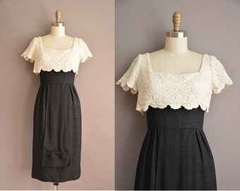 50s black white lace scallop vintage wiggle dress / vintage 1950s dress
