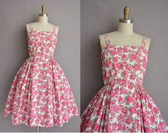 50 pink floral cotton vintage sun dress / vintage 1950s dress