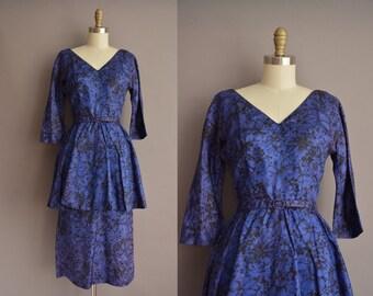 50s blue floral print peplum vintage wiggle dress / vintage 1950s dress
