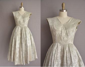 50s satin sage floral vintage party dress / vintage 1950s dress