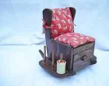 Wood Rocking Chair Sewing Caddy - Pin Cushion - Thread Holder with Drawer