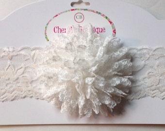 White Shabby Flower Elastic Lace Headband, Infant, Toddler, Baby, photo prop