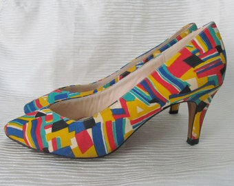 Abstract Print High Heels, Multi Color Block, Geometric, Pumps, Shoes, Vintage 80s Size 6.5
