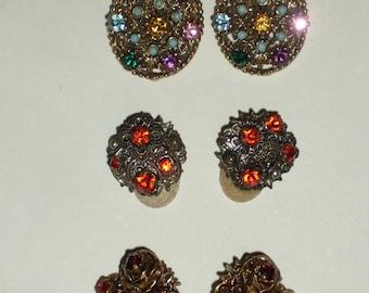 Three Sets CIip-on Rhinestone Earrings
