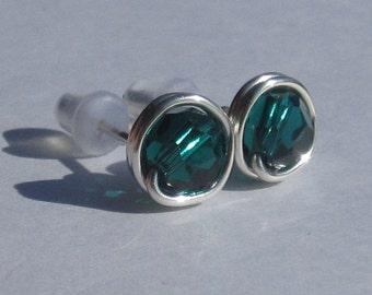 Emerald Stud Earrings (8mm), Swarovski Crystal Stud Earrings, Wire Wrapped Sterling Silver Stud Earrings, Emerald Studs