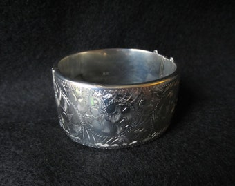 English Sterling Silver Engraved Wide Bangle Bracelet