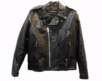 Vintage Mens Biker Jacket 1970s AMF Harley Davidson Black Leather Motorcycle Jacket Mns US Size 44