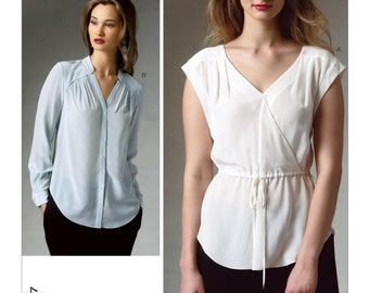 Sz 14/16/18/20/22 - Vogue Top Pattern V1387 by REBECCA TAYLOR - Misses' Pleated Surplice Tops - Vogue American Designer Pattern