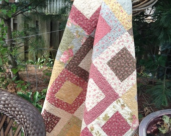 QUILTED GARDEN PARTY,  Square In a Square Quilt, Lap Quilt Pinks, Greens, Browns, Creams, Blues, Golds, Traditional Quilt Pattern