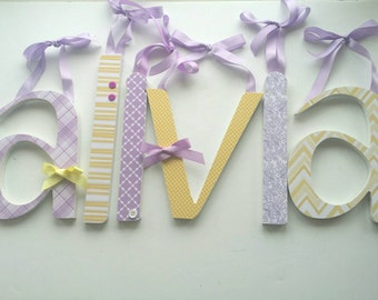 Wooden Name Letter, Wood Letters, Lavender and Yellow,  Baby Girl, Nursery Decor, Personalized Name, Custom Shower Gift, Girls Room Sign