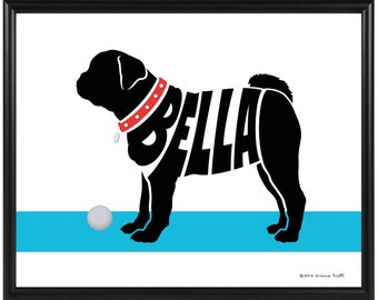 Personalized Pug Silhouette Print, Framed Pug Name Art, Memorial Gift for Dog Lover