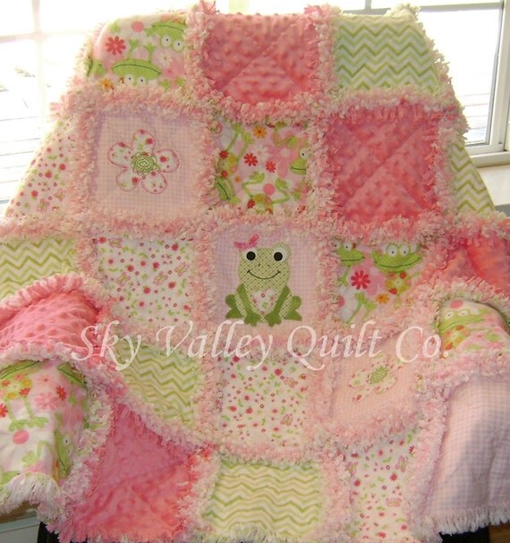 Pre CUT Rag Quilt kit ~ Sweet frog in pink and green FLANNEL from ... : pre cut flannel rag quilt kits - Adamdwight.com