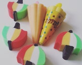 6, Vintage, retro, erasers, rubber, umbrella, umbrellas, red, green, yellow, great condition, scented, 1980s, 80s, by NewellsJewels on etsy