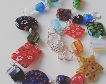 Summer, Millifiori, millifiore, Glass, necklace, mix colour, short feature necklace, by NewellsJewels on etsy