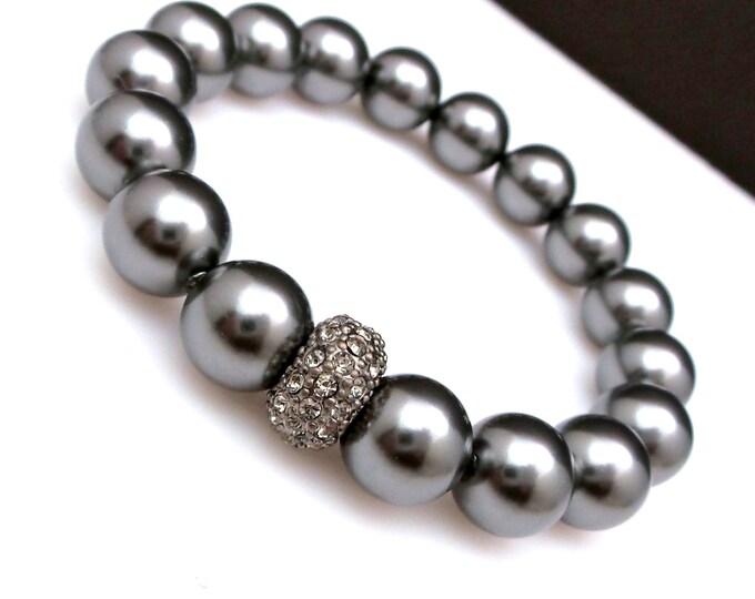 bridal bracelet wedding jewelry Swarovski dark grey 10mm round pearl  clear hematite cluster stone gun metal rondelle stretch bracelet