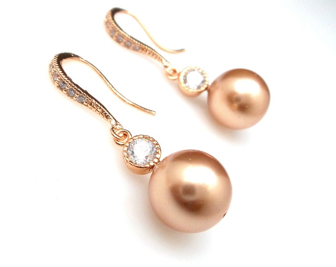 wedding jewelry bridal earrings christmas prom party bridesmaid gift swarovski 10mm rose gold round pearl cubic zirconia rose gold hook