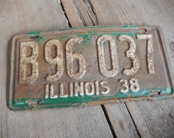 Vintage License Plate 1938 Illinois Rustic Old Metal Sign Wall Hanging, Cafe, Bar, Saloon, Coffee Shop Rusty Decor AMarigoldLife