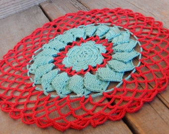 Vintage Doily Crochet Red Romantic Cottage Chic Retro Handmade Home Decor