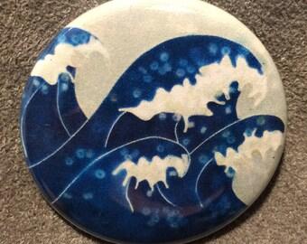 Crashing Waves pinback button or magnet