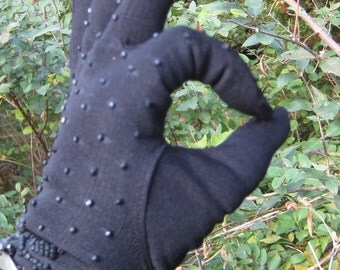 My Hands Look Great Vintage Black Beaded Driving  Gloves New Old Stock