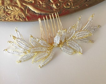 Bridal hair Comb - Leaf hair comb - gold hair comb Modern wedding Silver hair comb -| Ready to ship