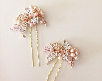 Rose Gold hair pins, Bridal hair pins, leaf hair pins