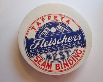 vintage rayon taffeta seam binding - Fleischer's - white - approx 95 yards