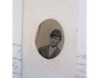 antique tintype photo in embossed paper frame - late 1800s, civil war era, BOYS - tt149