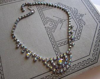 vintage rhinestone choker - purple AB finish - rhinestone necklace, hook closure - 15 inches
