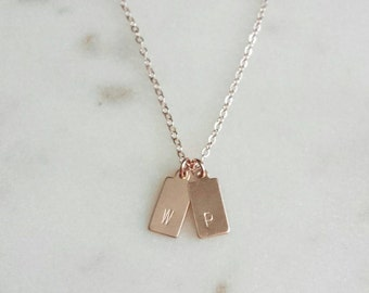 Little tags necklace, rose gold filled, delicate modern jewelry