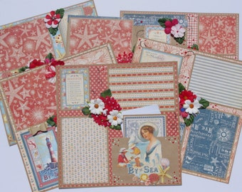 Graphic 45 By the Sea Beach 6 12x12 Premade Scrapbook Layouts journal tags