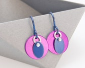 Small Purple Earrings – Aluminum Jewelry -  3D Violet Collection